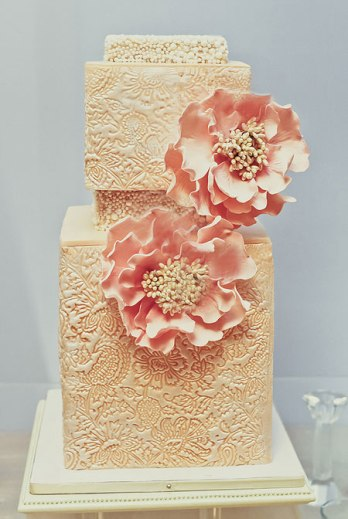 square-pink-wedding-cake-with-flowers