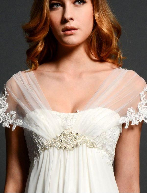 chiffon-sheer-sleeves-empire-wedding-dress-skirt-rc0047