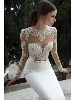 trumpetmermaid_long_sleeves_satin_sweepbrush_train_lace_wedding_dresses