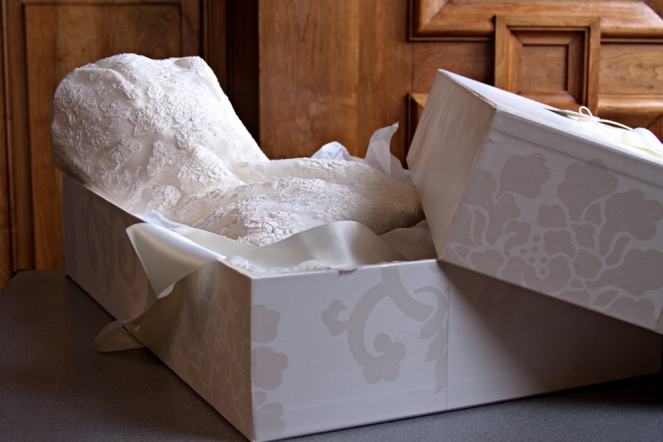 wedding dress in a box