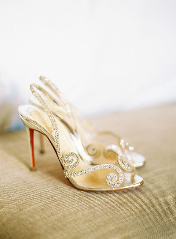 Metallic-details-gold-wedding-shoes