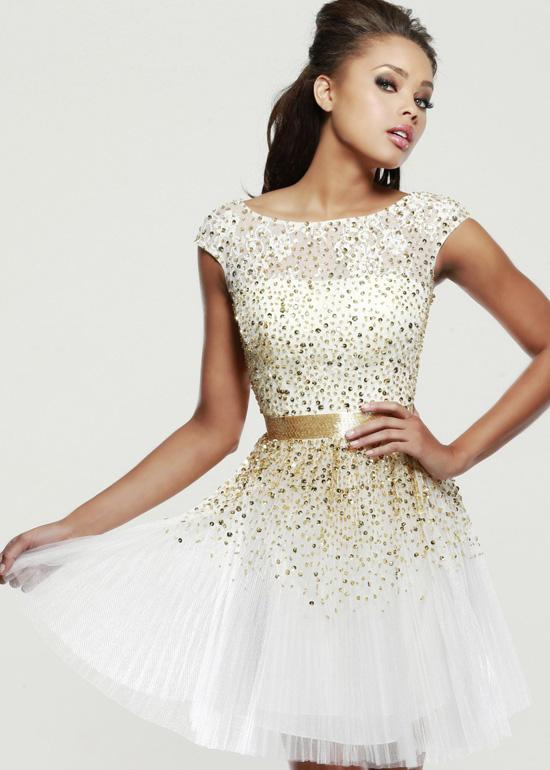 Ivory Sherri Hill 2840 Sequin Beaded Open Back Party Dress