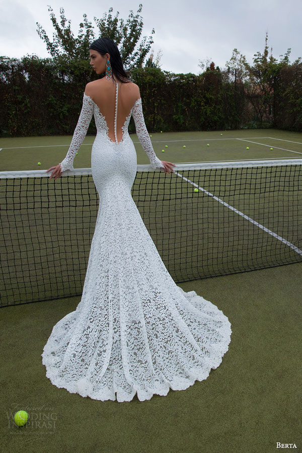 berta-bridal-2015-illusion-off-shoulder-bodice-lace-long-sleeve-deep-v-neck-sheath-wedding-dress-back-view