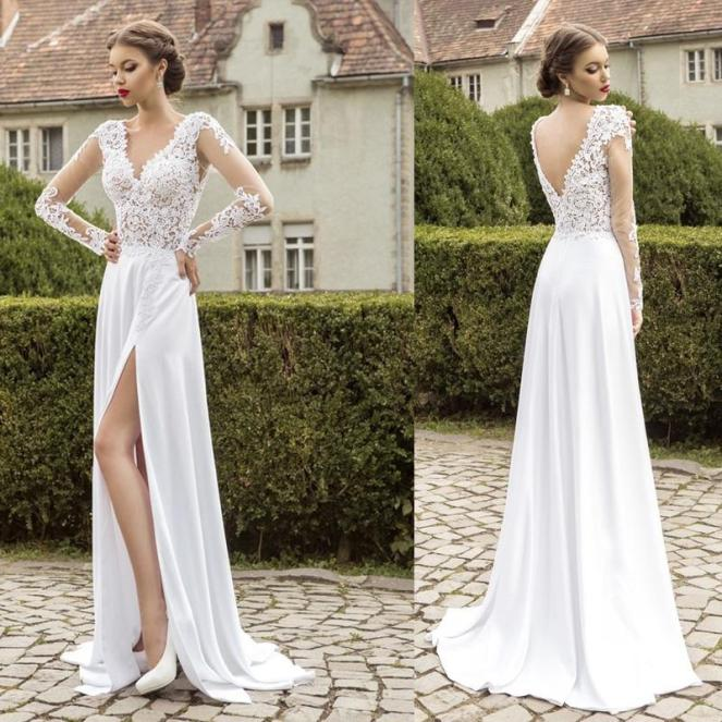 high-slit-beach-wedding-dresses-2015-v-neck