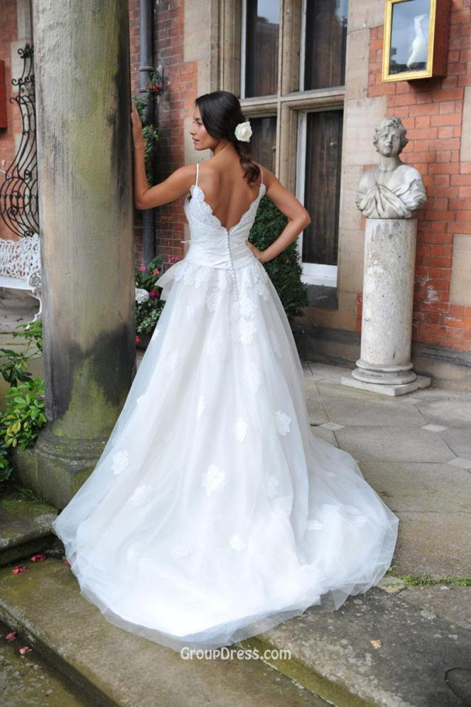 spaghetti-strap-ball-gown-destination-fall-long-wedding-dress-v-back-2